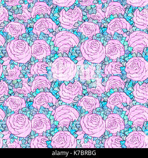 Floral decorative bright pink background with cute roses, seamless pattern. - Stock Photo