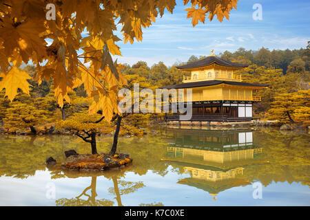 Japan Autumn season of Kinkakuji Temple (The Golden Pavilion) in Kyoto, Japan. - Stock Photo