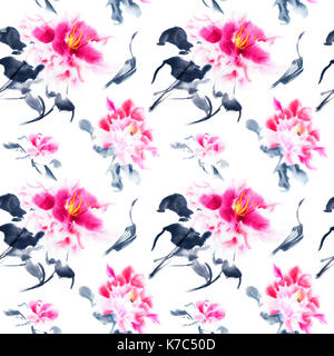 Romantic seamless pattern with watercolor peonies on white background. Pink hand painted flowers with black stems - Stock Photo