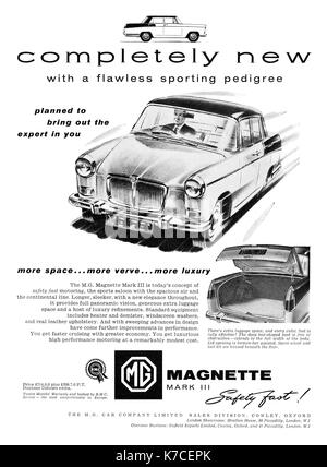 1959 British advertisement for the MG Magnette Mark 3 motor car. - Stock Photo