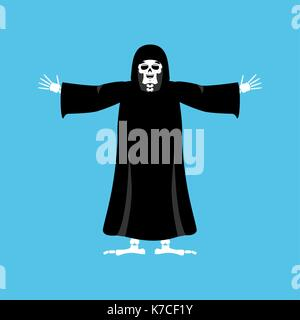 Grim reaper happy. death merry. skeleton in black cloak cheerful. Vector illustration - Stock Photo