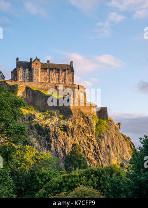 Sunset, Edinburgh Castle, viewed from Princes Street Gardens, Edinburgh Castle, Castle Rock, Edinburgh, Scotland, - Stock Photo