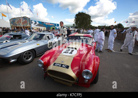 1964 AC Cobra in the assembly area Goodwood Revival 2017 Meeting, Goodwood race track, West Sussex, England, UK - Stock Photo