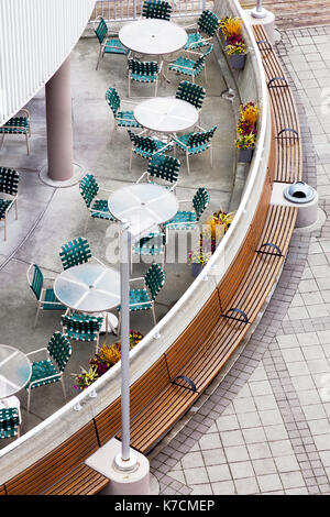 Outdoor cafe top down view. Modern retro style - Stock Photo