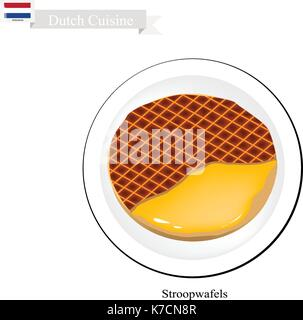 Dutch Cuisine, Stroopwafels or Traditional Crispy Waffle Filled with Caramel. One of Tha Most Popular Dessert of - Stock Photo
