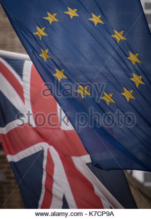 Embargoed to 0001 Sunday September 17 File photo dated 17/2/2016 of EU and UK flags flying above the EU Commission - Stock Photo