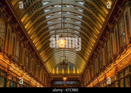 LONDON, UNITED KINGDOM - AUGUST 29, 2017: View of Leadenhall Market in London - 3 - Stock Photo
