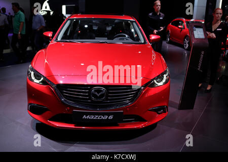 Frankfurt, Germany. 14th Sep, 2017. The Japanese car manufacturer Mazda presents the Mazda6 at the 67. IAA. The - Stock Photo