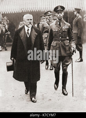 Prince Albert, right with Monsieur Poincaré, seen here in 1919.  Prince Albert, future George VI, 1895 – 1952.  - Stock Photo