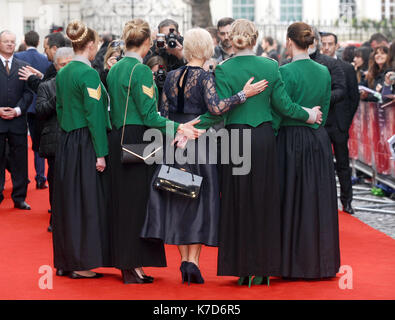 Photo Must Be Credited ©Kate Green/Alpha Press 079965 11/04/2016 Helen Mirren with soldiers Eye In The Sky UK Premiere - Stock Photo
