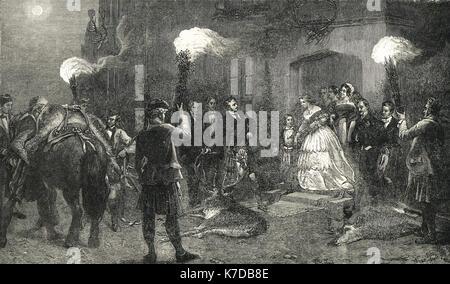 An evening at Balmoral castle, 1854 - Stock Photo