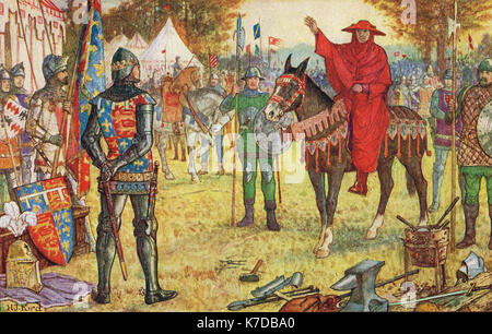 Cardinal Perigord meeting Edward the Black Prince in the English camp to plea for peace between England & France, - Stock Photo