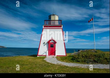 Fox head lighthouse in St. Anthony, Newfoundland, Canada - Stock Photo