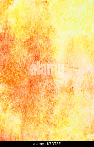 Yellow hand-drawn watercolor background with texture - Stock Photo