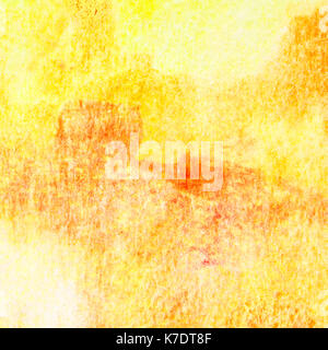 Yellow-orange abstract hand-drawn watercolor background with texture - Stock Photo