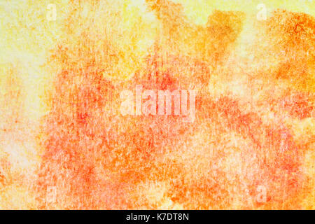 Orange hand-drawn watercolor background with texture - Stock Photo