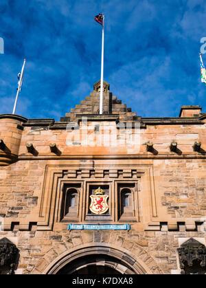Royal Arms of Scotland, above Edinburgh Castle Gate, Edinburgh Castle, Edinburgh, Scotland - Stock Photo