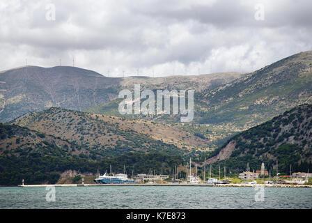 Mountain view taken from Argostoli the capital of Kefalonia - Stock Photo