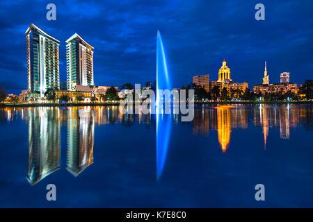 Batumi skyline and its reflections in water, Georgia. - Stock Photo