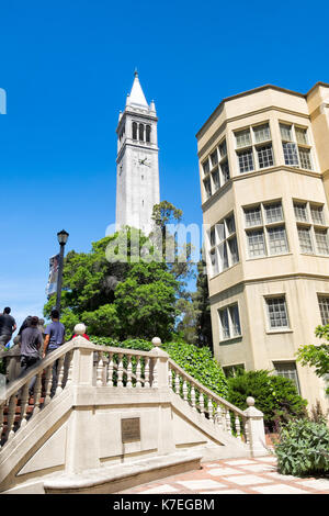 University of California campus buildings including the iconic Campanile tower and Moses Hall. - Stock Photo