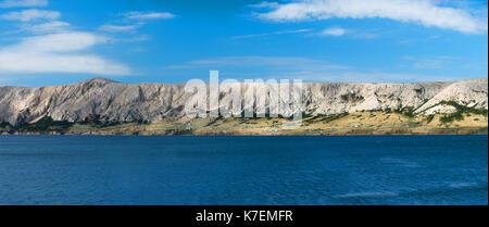 Large Seacape Panorama of Mediterranean Island of Pag in Croatia, - Stock Photo