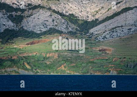 Seacape Panorama of Mediterranean Island of Pag in Croatia, - Stock Photo