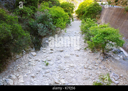 A dried up river bed in Kefalonia,Greece - Stock Photo