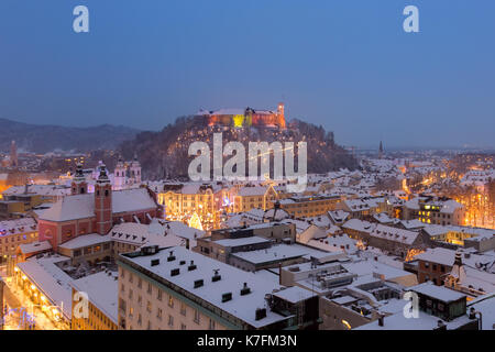 Aerial panoramic view of Ljubljana decorated for Christmas holidays, Slovenia, Europe. - Stock Photo