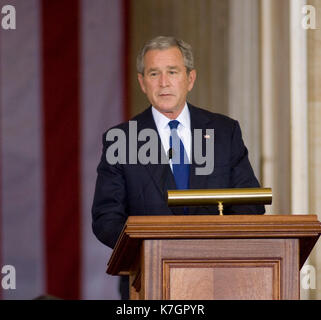 President George W, Bush  in the rotunda of the US Capital.  The Dalai Lama was given the Congressional Medal of - Stock Photo