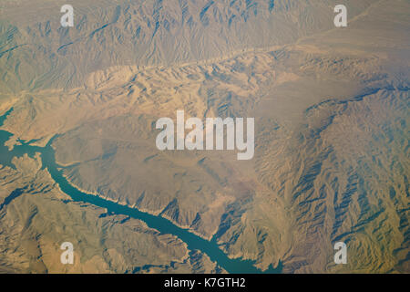 Aerial view of Lake Mead, view from window seat in an airplane at Nevada, U.S.A. - Stock Photo