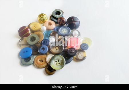 Isolated Pastel and Wooden Buttons - Stock Photo
