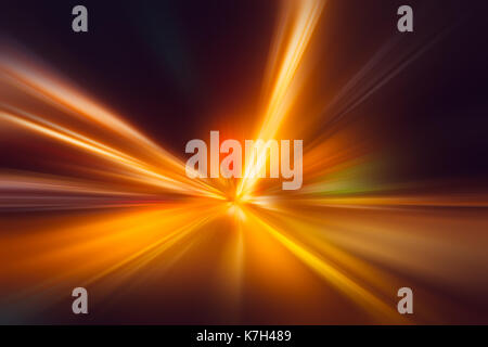 blur hi-power lightning acceleration to high speed on night superhighway road fast moving motion drive with night - Stock Photo