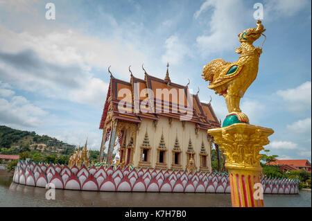 Cat sleeps on the tiles at Wat Plai Leam, a Buddhist temple on the island of Ko Samui, Thailand. - Stock Photo