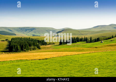 Mountains and rolling hills landscape , cezallier massif, Puy de Dome department, Auvergne, France