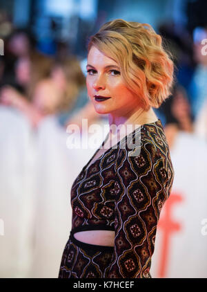 Toronto, Canada. 15th Sep, 2017. Actress Amy Seimetz attends the world premiere of the film 'My Days of Mercy' at - Stock Photo