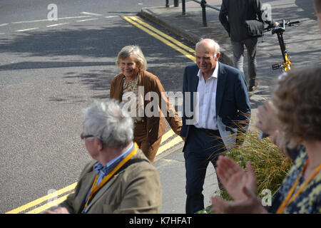 Party leader Vince Cable arrives at Liberal Democrat Autumn Conference in Bournemouth with his wife Rachel, and - Stock Photo