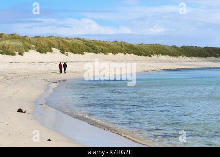 Sumburgh, Shetland Islands, Scotland, UK. 16th Sep, 2017. UK weather - a couple enjoying a blustery but bright spell - Stock Photo