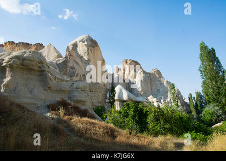 Sandrock chimeny and trees in Capadocia national reserve in central Turkey. Patrimony of the Humanity (UNESCO) from - Stock Photo