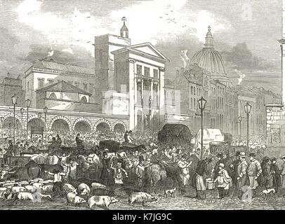 Smithfield cattle market, London in 1848 - Stock Photo