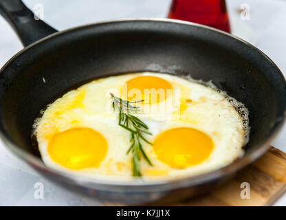 Top view omelette in a pan - Stock Photo