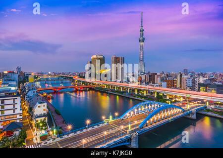Tokyo, Japan skyline in the Sumida district. - Stock Photo