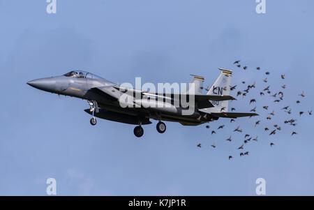F-15 Eagle aircraft at RAF Lakenheath - Stock Photo