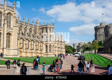 St George's Chapel, Lower Ward and Round Tower in Windsor Castle, England - Stock Photo
