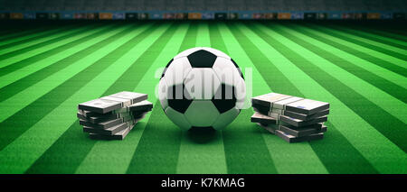Soccer football ball and banknotes on an illumunated field grass background. 3d illustration - Stock Photo