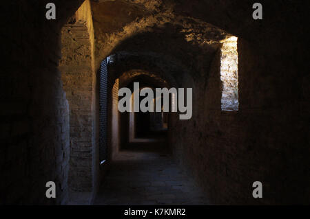 Underground of Ancient Roman Amphitheater in Italica - Stock Photo