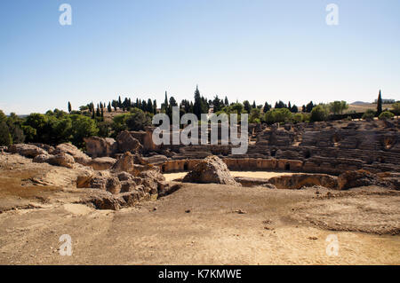 Ancient Roman Amphiteater in Italica - Stock Photo