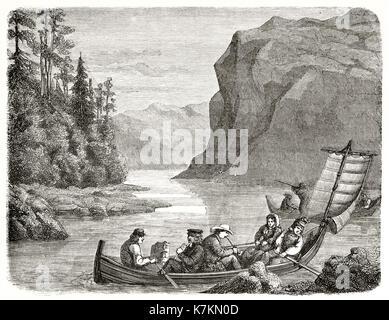 Old view of Skalka lake, Sweden. By Laly, publ. on Le Tour du Monde, Paris, 1862 - Stock Photo