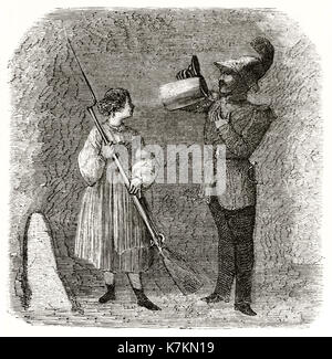 Old illustration of a soldier drinking beer in Munich. By Lancelot, publ. on Le Tour du Monde, Paris, 1862 - Stock Photo