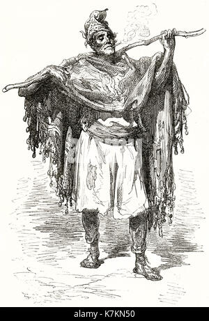 Old illustration of a working man in Valencia, Spain. By Dore, publ. on Le Tour du Monde, Paris, 1862 - Stock Photo