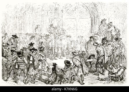 Old illustration depicting the Water Tribunal of the plain of Valencia, Spain. By Dore, publ. on Le Tour du Monde, - Stock Photo